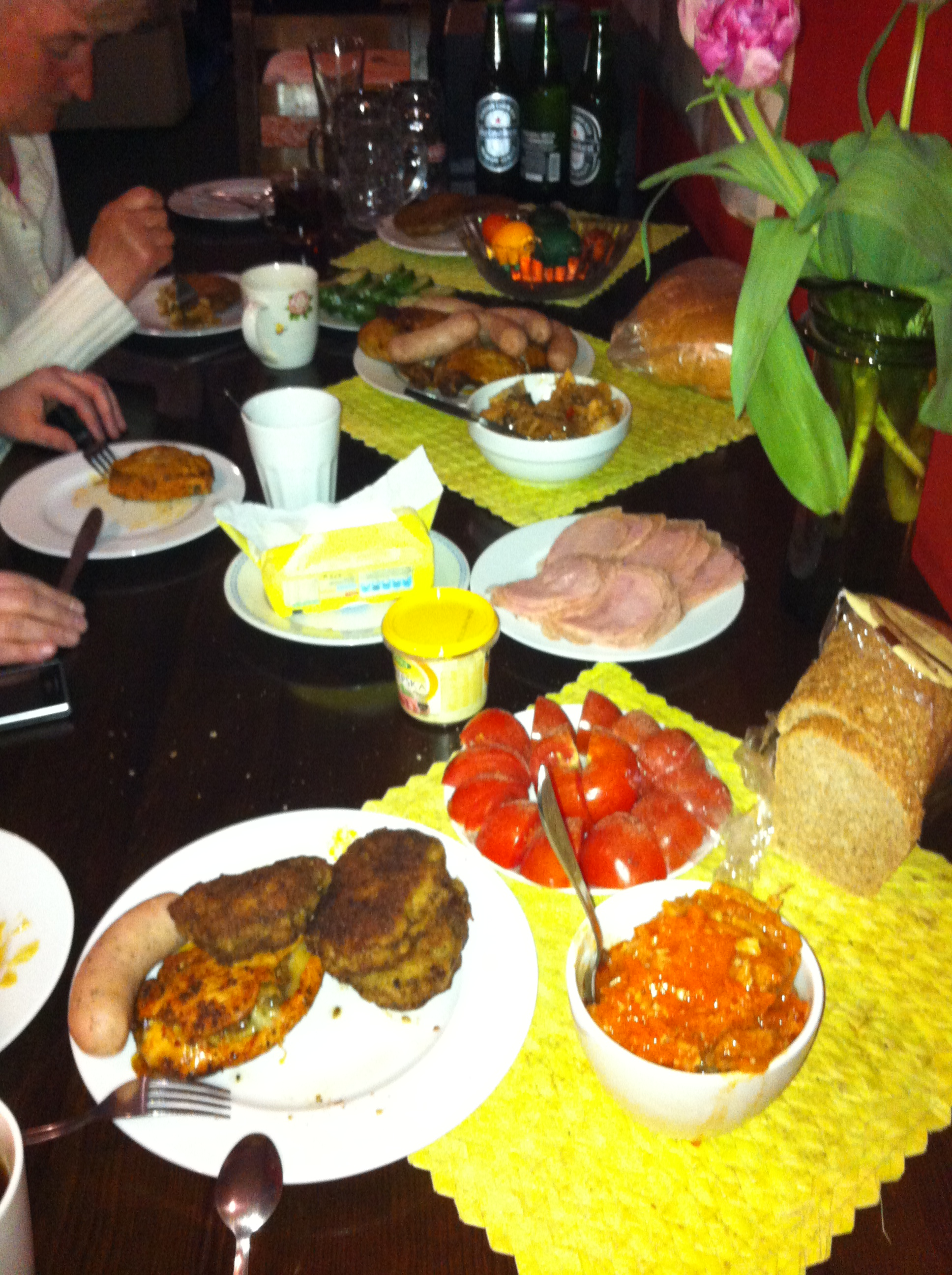 The Easter meal offered by hostel owner at Hostel Targ Rybny.